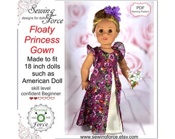 Floaty Princess Gown designed for 18 inch dolls such as American Girl - doll clothes dress - PDF Sewing Pattern - instant download