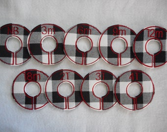 black and white plaid closet divider set
