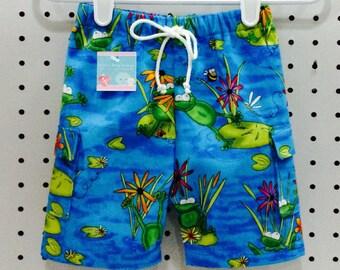 Baby Boy Frog & Lily Pad Swim Trunks/Swimsuit/Swim Shorts