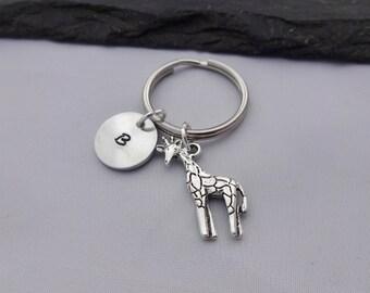 Initial Giraffe Keyring, Hand Stamped Keyring, Giraffe Keyring, Animal keyring, Charm Keyring, Keychain, Personalised Keyring, Giraffe Gifts