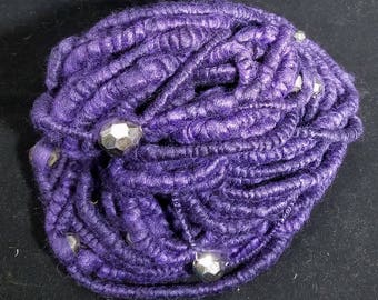 Handspun Bamboo/Merino over Silk Core 28 yds 8 oz Super Bulky Beaded Coiled Art Yarn Great for Un-Knitted Cowl Art Quilting/Knitting Purple