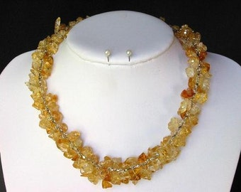 Necklace Citrine Chip Beads Chained Dangle NSCT1415