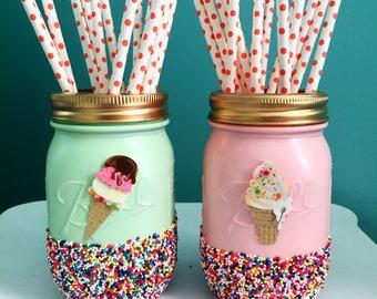 Ice Cream Party Mason Jars, Mint and Pink Ice Cream Jars