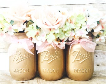 Set of 3 Hand Painted Gold Mason Jars, Wedding Centerpieces, Pink and Gold First Birthday, Sweet 16, Rustic Decor, Pink, Rustic Centerpieces