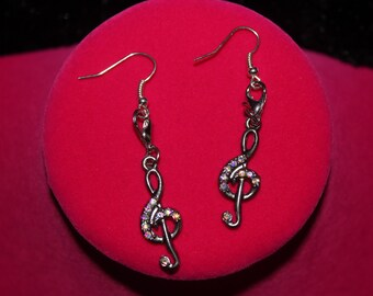 Musical note earrings, treble clef silver colored dangle earrings, rhinestone sparkle music note