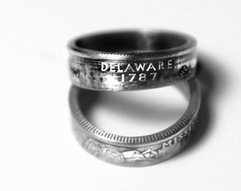Handcrafted Ring made from a US Quarter - Delaware - Pick your size
