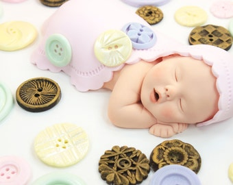 Cute As A Button Baby Girl Cake Topper with Grandma's Buttons in Sugar Paste for Baby Shower by lil sculpture