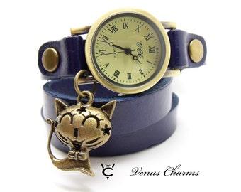 "Vintage Leather watch Bracelet Watch three laps wrist watch Wrap Watch ""Cat"""