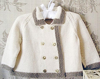 KNITTING PATTERN-Baby jacket - double breasted with contrasting trim P002