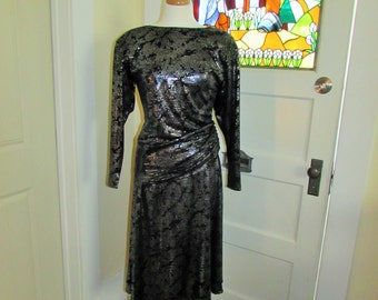 80's black dress by Kira, made in Canada