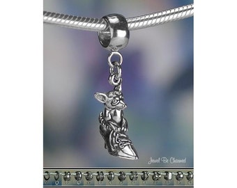 Shoe with Chihuahua Charm or European Charm Bracelet Sterling Silver