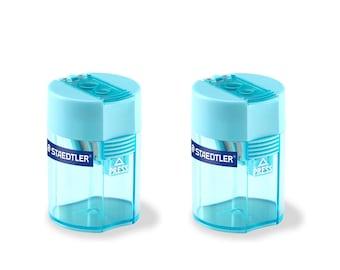 Staedtler Double Hole Tub Pencil Sharpener Cyan Color 512-006-37 Safety Lock | Jumbo & Graphite Pencil | 2 Barrel