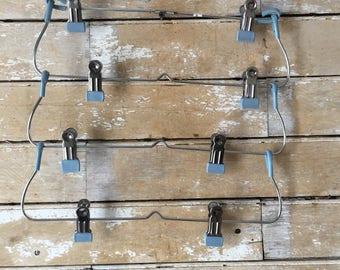 Vintage Primitive Metal Hanger Ornate Old Blue Clips