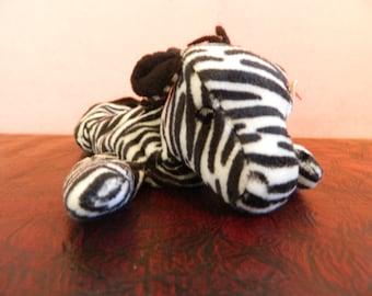 """TY Black And White Striped Zebra Beanie Baby """"Ziggy"""" (B)"""
