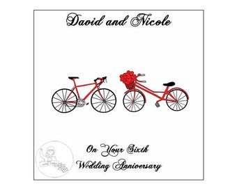 Handmade Personalised Sixth Wedding Anniversary Card 6th Road Bikes Bicycle Hearts Iron