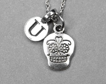 Sugar Skull Necklace, day of the dead charm, silver plated antiqued pewter, initial necklace, initial hand stamped, personalized, monogram