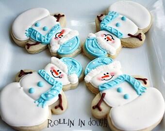 Snowman Cookies, Snowmen, Christmas Cookies, Holiday Cookeis - 1 Dozen