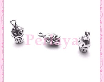 Set of 15 charms cakes muffins silver REF687X3
