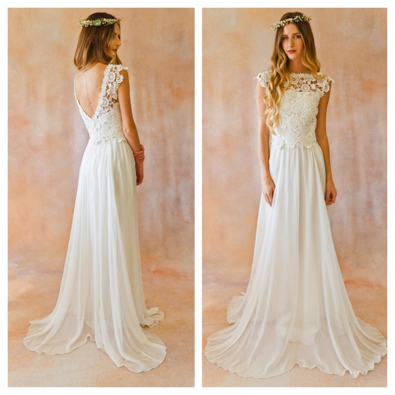 Flowy bohemian style wedding dresses
