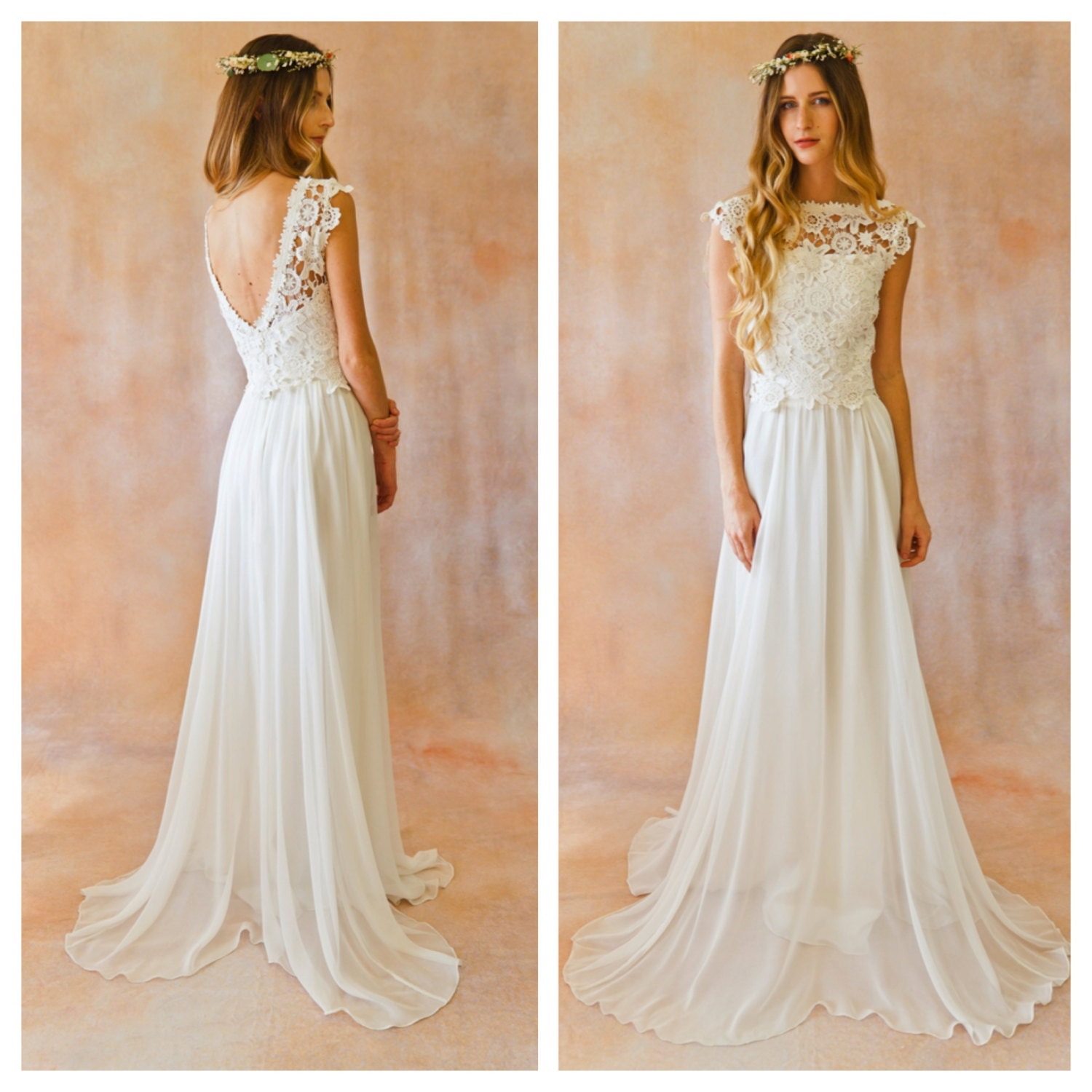 Amy 2 piece lace silk chiffon bohemian wedding dress open for Have wedding dress made