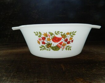 Vintage Arcopal France casserole dish with French Partridge Hens design