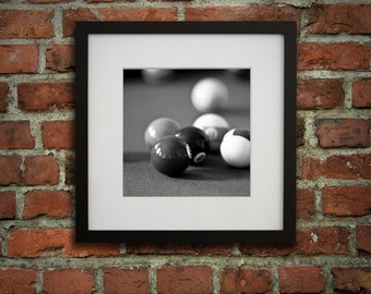 12x12 Framed art, Billiard decor, Pool room décor, Black and white, Gifts for dad, Game room wall art, Ready to hang art // Billiard balls