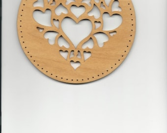 "HEARTS in HEART #29, pine needle basket base, 6"" round"
