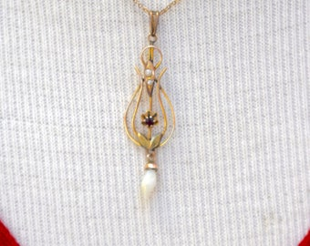 14KT Rose Gold Filled Lavalier Necklace with Seed Pearls, Garnet and MOP Drop Vintage
