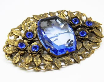 Art Nouveau Brass and Sapphire Glass Sash Pin Flowers and Leaves