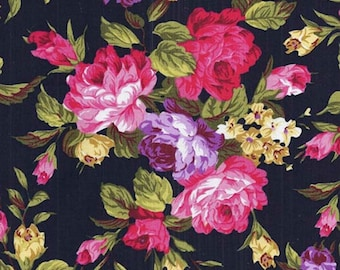 1 metre x 110 cm Flower Grouping with PINK ROSE FABRIC - 100% Cotton - Black Background - Quilting, Sewing, Dressmaking, Crafts, Design