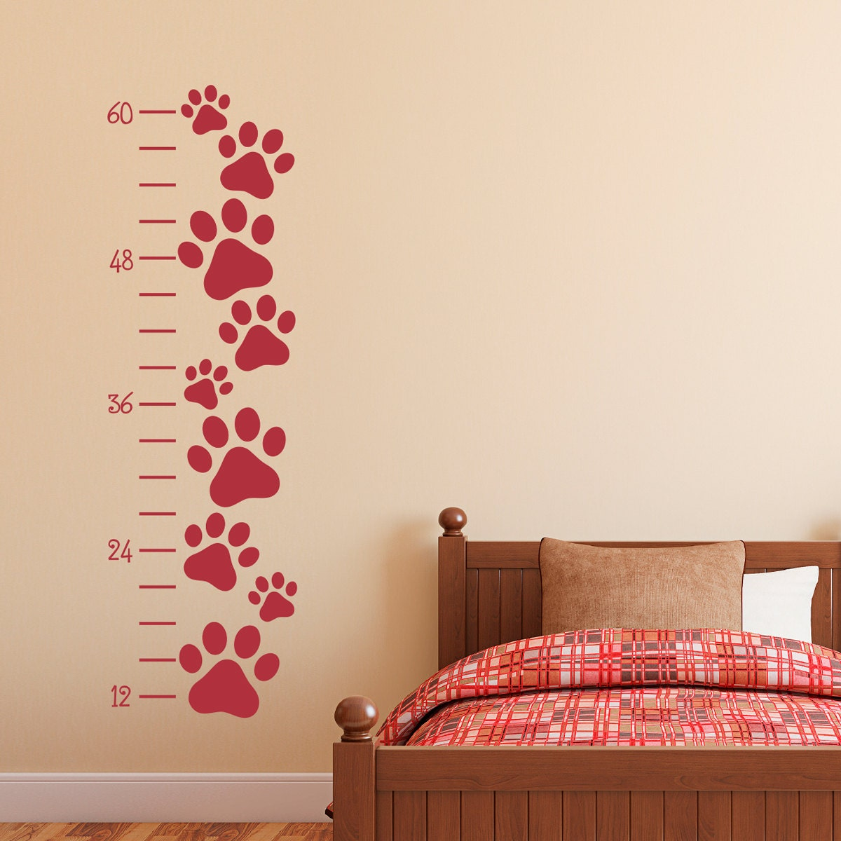 Paw print growth chart wall decal growth chart dog pawprint description the paw print growth chart wall decal geenschuldenfo Image collections