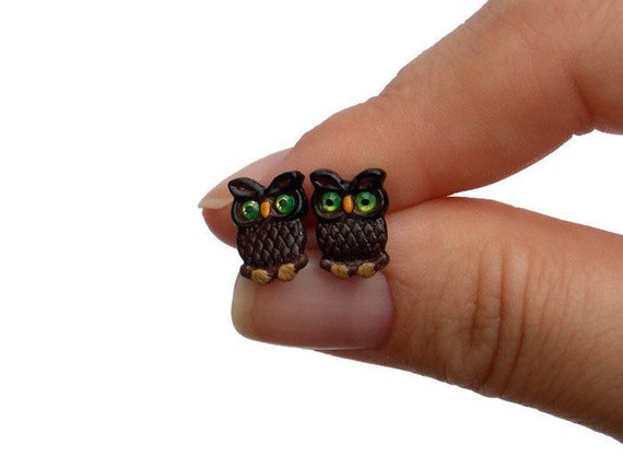 Owl Stud Earrings - Titanium Earrings for Sensitive Ears - Brown Stud Earrings - Owl Gifts - Sterling Silver Earrings - Cute Animal Earings