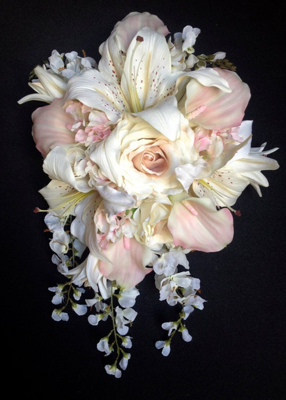 Cascading Bride\'s Bouquet with Blush Pink Calla Lilies and