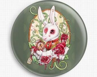 Needle Minder, Alice In Wonderland, White Rabbit, Licensed Art, Medusa Dollmaker, Rabbit Hole, Stitch Keeper, Fridge Magnet