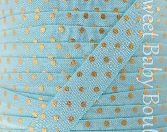 Fold Over Elastic 5 Yards Aqua with Gold Foil Dots