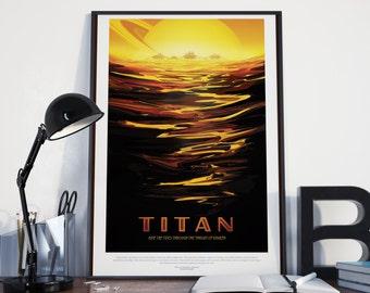 SPACE EXPLORATION POSTER - Titan Moon: Nasa Art Print, Space Exploration Poster, Retro Futuristic Look