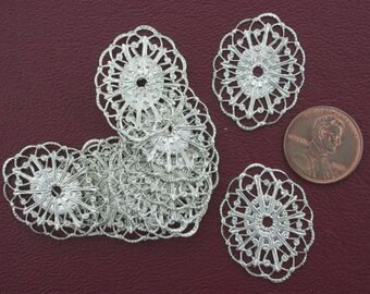 ten ornate 29mm x 22mm silver tone filigree findings