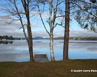 Waiting for Winter, Long Lake, Bridgton, Maine, Lake, Reflections, Sky, Trees, Fine Art, Wall Art