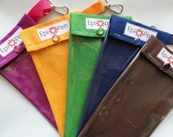 Epi Pen Carrier Clear Pocket Pouch with Clip Holds 2 Allergy Pens - 4x8 You Choose Fabric Solid Colors