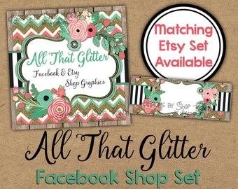 Facebook Timeline Set - Glitter Shop Banner - Spring Timeline Cover - Profile Image - Glitter, Floral Facebook Shop Set
