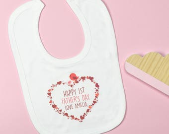 Personalised First Father's Day Heart Bib Red / Blue