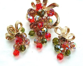 Vintage Costume Jewelry Set Cascading Beaded Dangle Fringe Brooch Clip Earrings Tangerine and Olive Glass with Bows