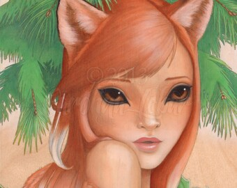 "Art print of fox girl Kitsune with evergreen trees and holly part of Wild Things Series by Carolina Lebar - 8""x10"""