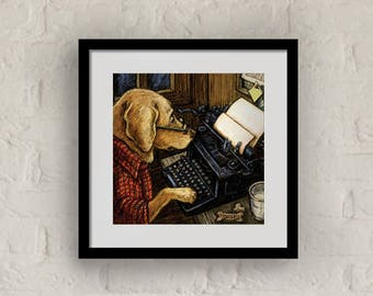 "Framed ""Keeping In Touch"" Print Labrador Retriever Art 16""x16"""