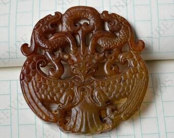 Double Side face carving  Dragon jade jade Flower Long Life Card pendant Bead Gemstsone,Amulet Talisman jade pendant findings