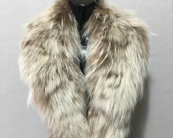 Genuine Real Beige Fox Fur Collar