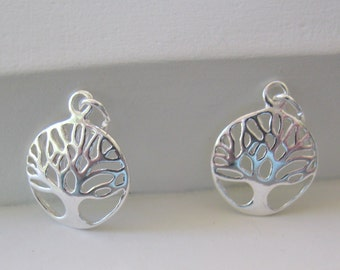 Small Circle Tree of Life Charm Sterling Silver Round Charm 1-3 Pair 14.5 mm