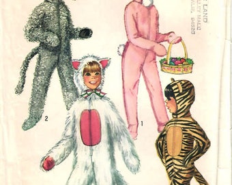 1970s Simplicity 9050 Vintage Sewing Pattern Boys and Girls Animal Costumes Dog Cat Rabbit Tiger Size 4