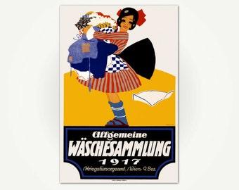 Vintage Laundry Room Poster Art Print - Allgemeine Wäschesammlung, Vienna 1917