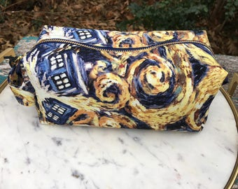 Toiletry Bag - Doctor Who Van Gogh TARDIS- School Supplies - Pencil and Electronics case- Graduation Gift- Father's Day Gift